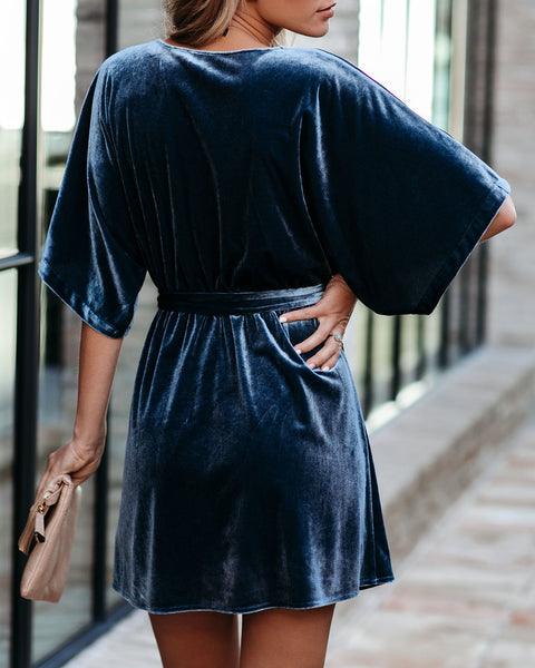 On Your List Velvet Kimono Dress - Vintage Blue