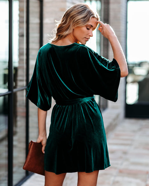 On Your List Velvet Kimono Dress - Green - FINAL SALE