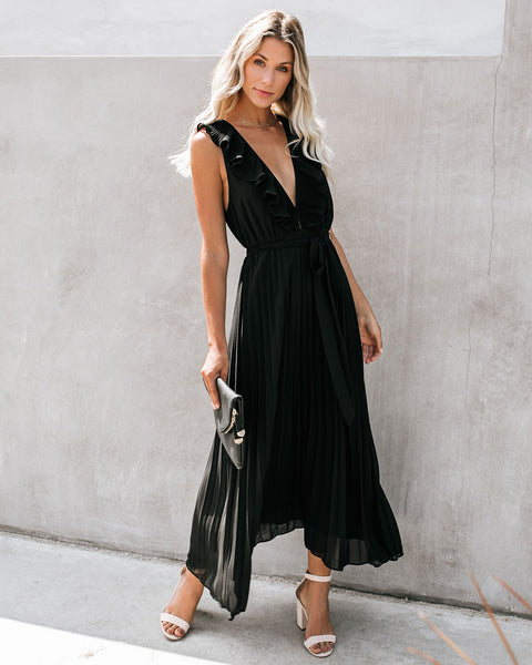 Opera House Pleated Ruffle Maxi Dress - Black