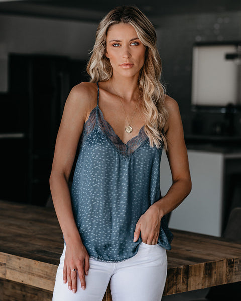 Orion Star Embossed Lace Cami Tank - Slate Blue
