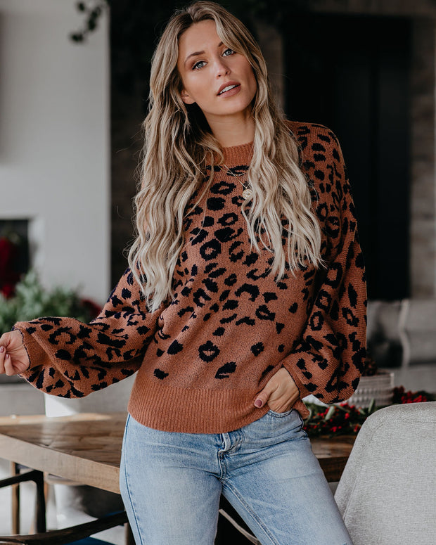 Oscar Balloon Sleeve Leopard Sweater