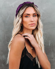 Oui Ruched Satin Headband - Purple - FINAL SALE view 2