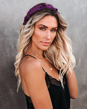 Oui Ruched Satin Headband - Purple - FINAL SALE view 3