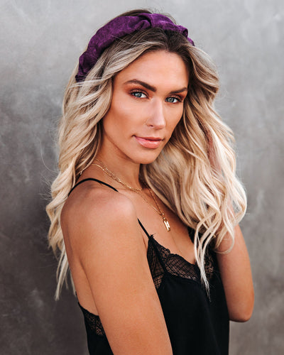 Oui Ruched Satin Headband - Purple