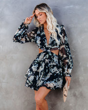 Our Love Blossoms Ruffle Tiered Cutout Dress
