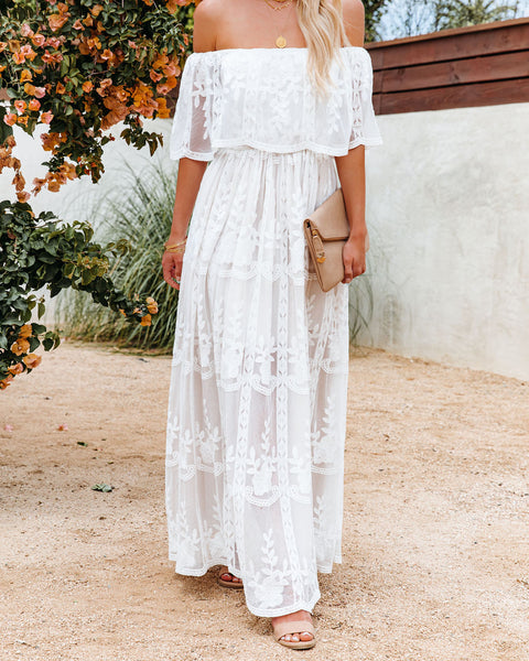 Our Together Is Forever Off The Shoulder Lace Maxi Dress