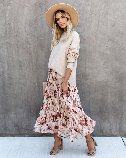 Out And About Floral Pleated Midi Skirt