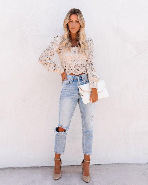 Outer Banks Cotton Crochet Lace Crop Top - Natural