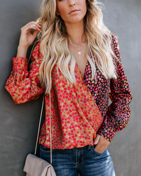 Out Of Sight Mixed Print Drape Blouse