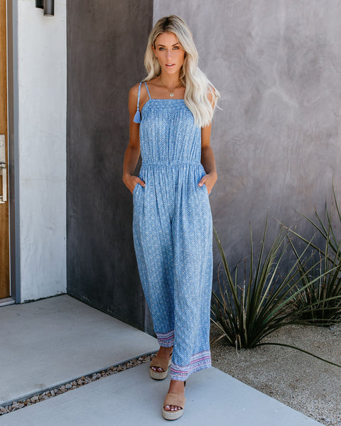 Out Of The Blue Pocketed Tassel Tie Jumpsuit