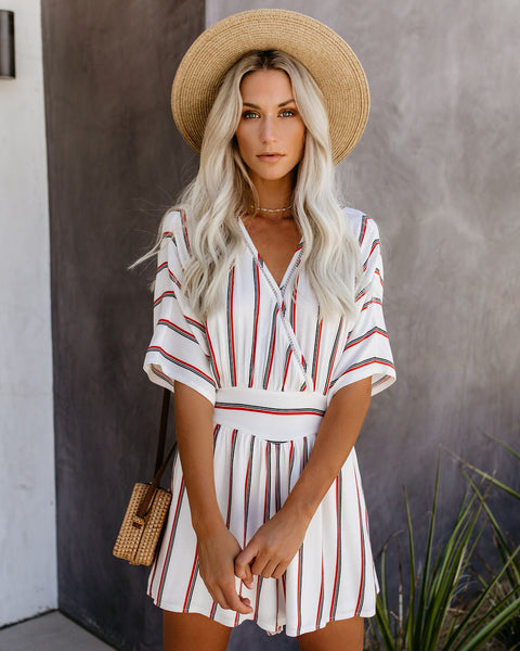 Packed And Ready Striped Drape Romper