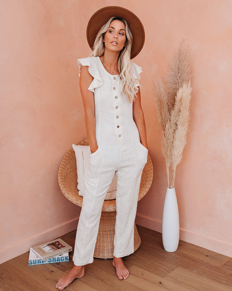 Pack Light Cotton Pocketed Button Down Jumpsuit