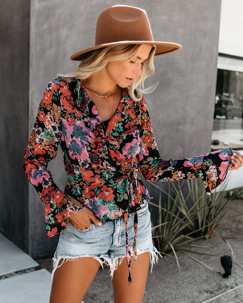 Painted Petals Ruffle Wrap Blouse