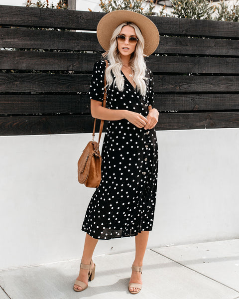 Paloma Button Down Midi Dress - Black