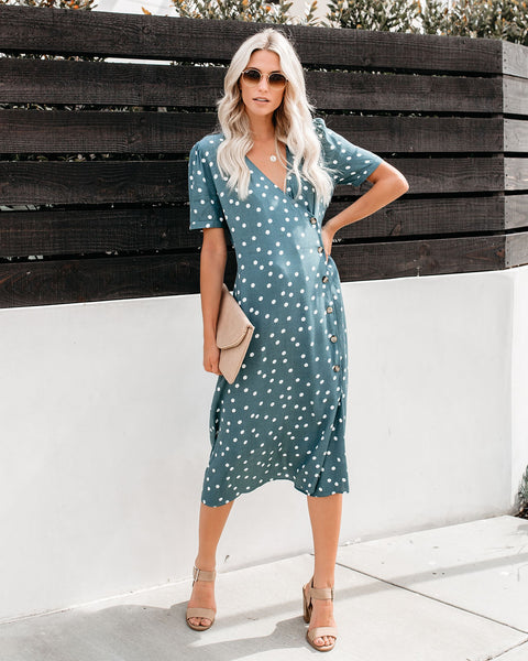 Paloma Button Down Midi Dress - Sage