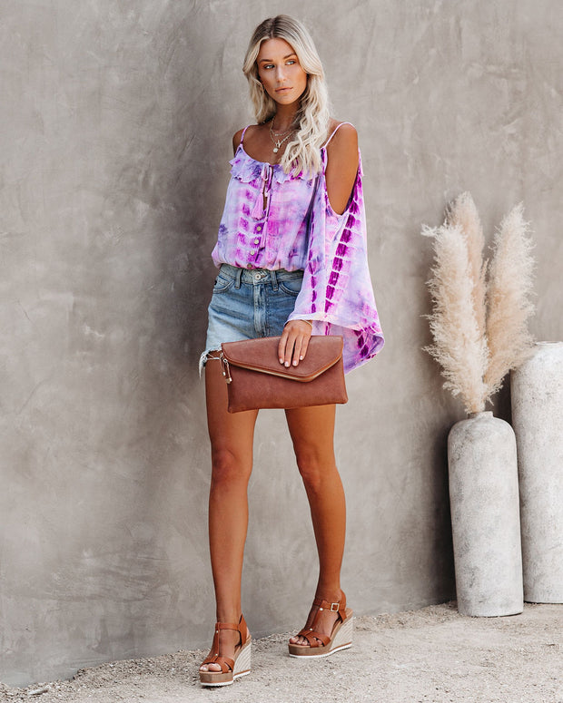 Pandora's Box Tie Dye Cold Shoulder Top - Lavender