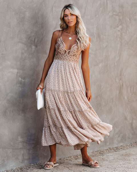 Pansy Tiered Lace Midi Dress