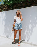 Lonestar Pocketed Paper Bag Waist Denim Shorts - Light Wash
