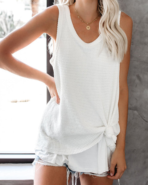 Paradise Found Thermal Layered Tank - Off White - FINAL SALE