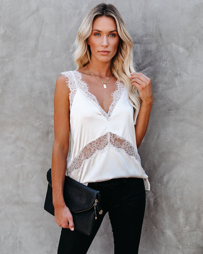Paramount Lace Mix Cami Tank - Champagne