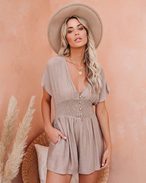 Paramour Smocked Button Down Pocketed Romper - Taupe