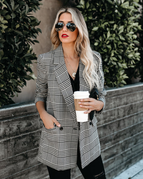 Pardon Me Pocketed Houndstooth Blazer