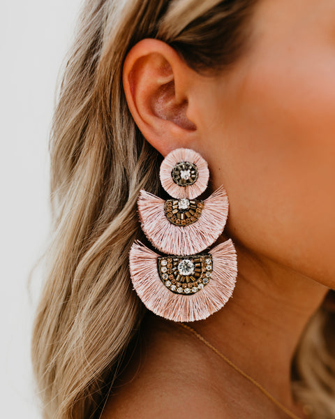 OLIVE + PIPER - Parisian Tiered Fringe Statement Earrings - Blush - SHIPPING IN 1 WEEK!