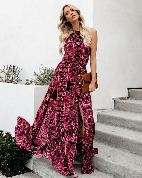 Paris Paisley Adjustable Halter Maxi Dress