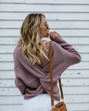 Cozy Up Cotton Twist Back Sweater - Lavender - FINAL SALE