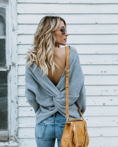 Cozy Up Cotton Twist Back Sweater - Grey - FINAL SALE