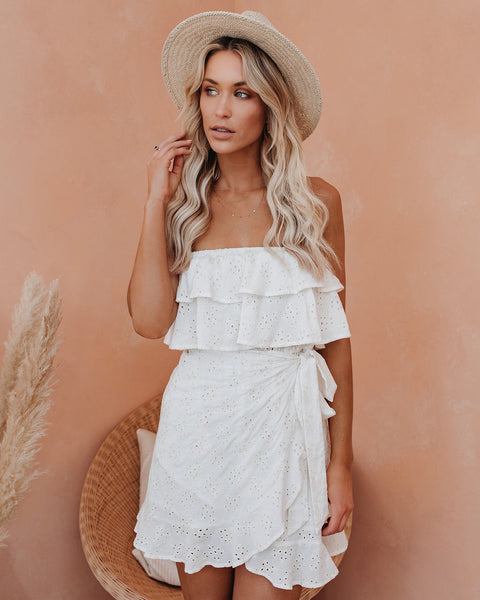 Party Out Back Strapless Eyelet Tie Dress