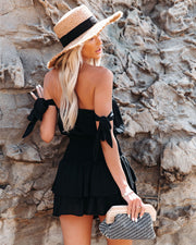Passionflower Smocked Off The Shoulder Romper - Black view 2