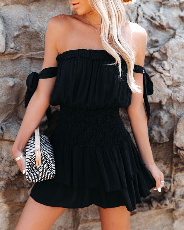 Passionflower Smocked Off The Shoulder Romper - Black view 6