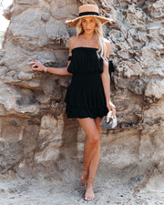 Passionflower Smocked Off The Shoulder Romper - Black view 3
