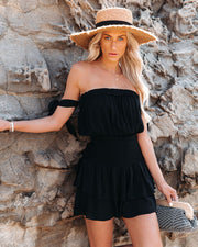 Passionflower Smocked Off The Shoulder Romper - Black view 8
