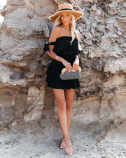 Passionflower Smocked Off The Shoulder Romper - Black view 1