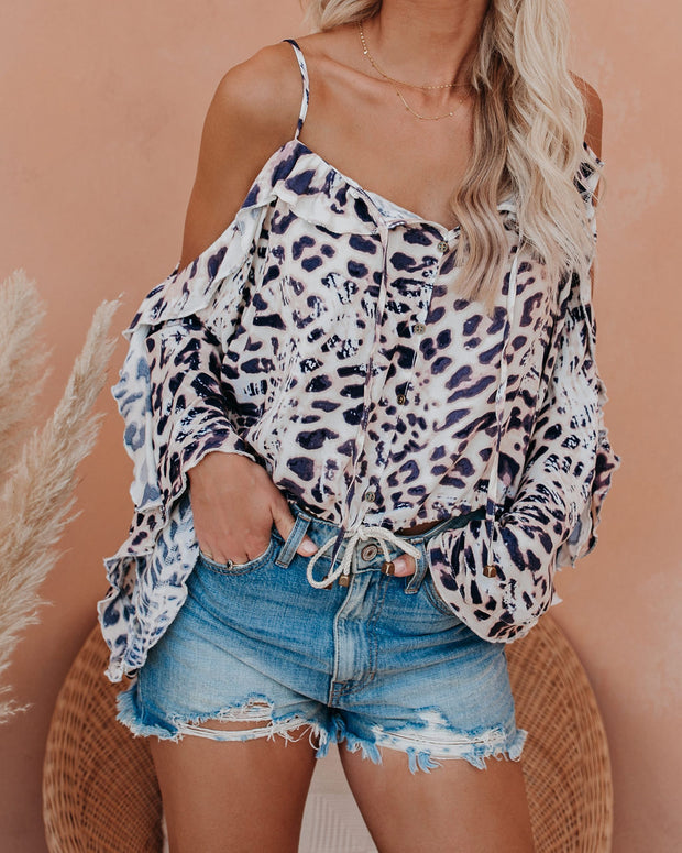 Paws Off Cold Shoulder Ruffle Drawstring Top  - FINAL SALE