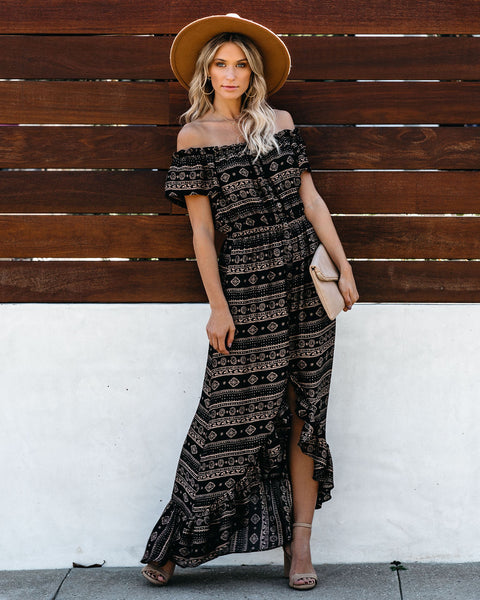 Paxi Off The Shoulder High Low Maxi Dress - Black - FINAL SALE