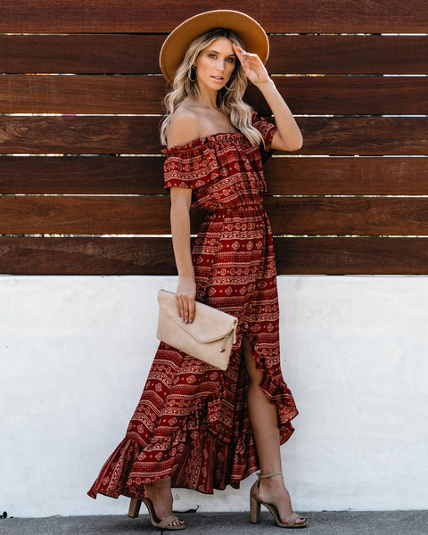 Paxi Off The Shoulder High Low Maxi Dress - Rust - FINAL SALE
