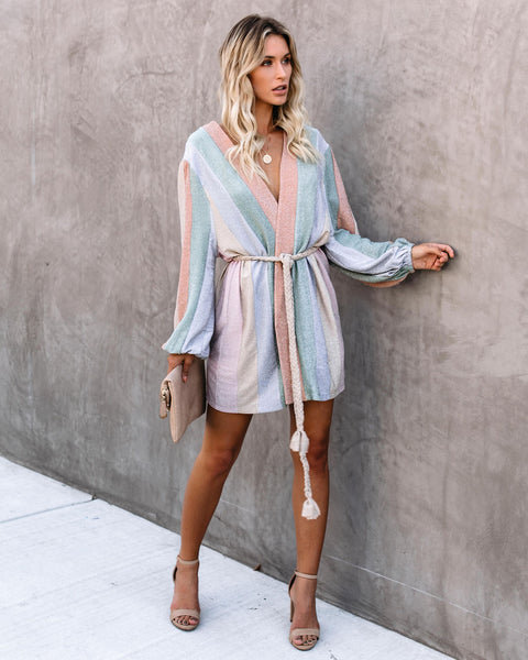 Peace Of Mind Balloon Sleeve Rope Tie Wrap Dress - FINAL SALE