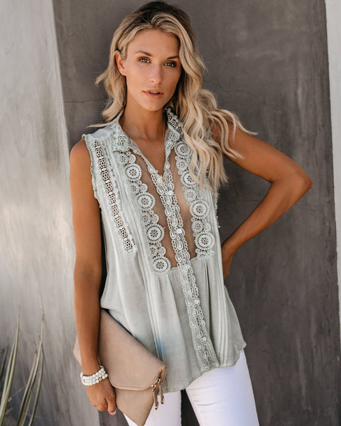 Peace Within Crochet Lace Top - Sage