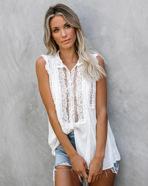 Peace Within Crochet Lace Top - White