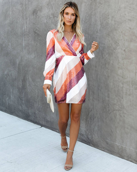 Peak Performance Striped Sequin Dress