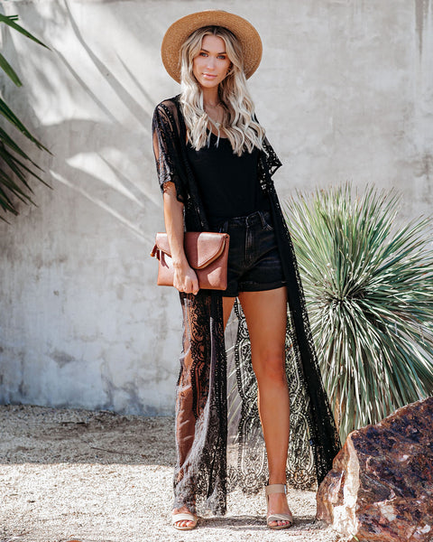 PREORDER - Pebble Beach Lace Duster Kimono - Black