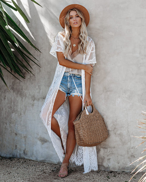 Pebble Beach Lace Duster Kimono - White