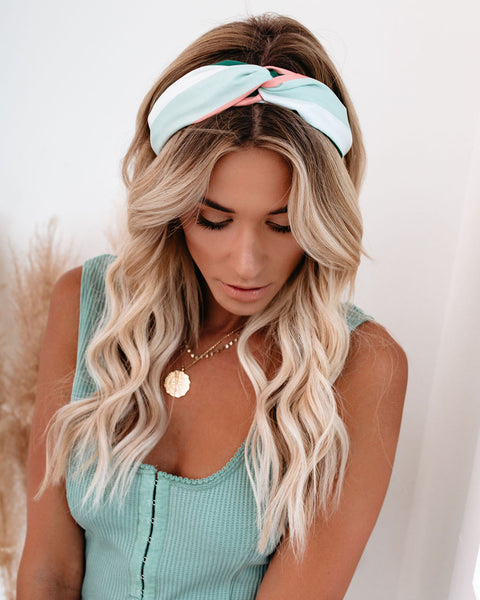 Penelope Striped Twist Headband - Teal Mint