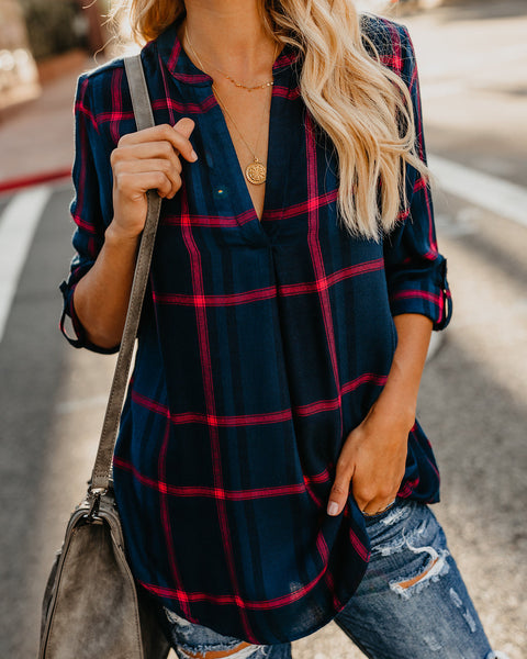 Perci Plaid Top