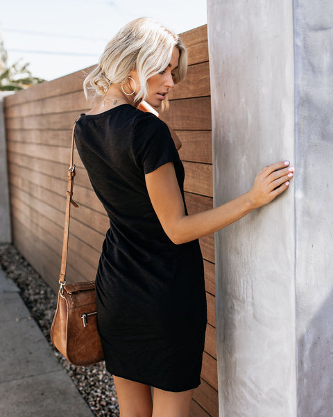 Perfect Fit Ruched Shirt Dress - Black