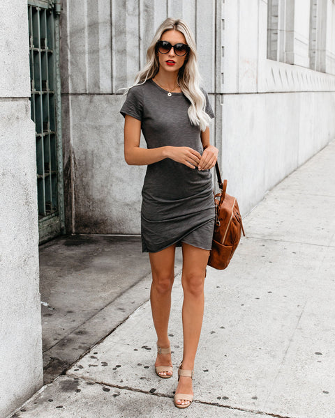Perfect Fit Ruched Shirt Dress - Charcoal