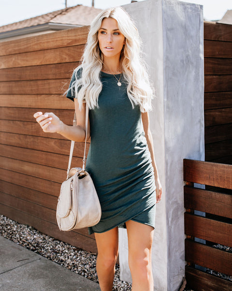 Perfect Fit Ruched Shirt Dress - Dark Teal